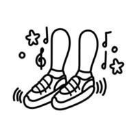 Füße tanzen mit Musiknoten im Linienstil vektor