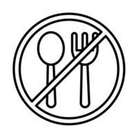 Gabel und Löffel mit verbotener Zeichenlinie und Füllstilsymbol vektor