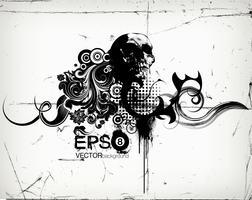 grungy blommig illustration med skalle vektor