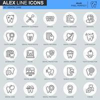 Zahnpflege der dünnen Linie, Zahnheilkundeausrüstung, Hygieneikonen stellte für Website und bewegliche Site und apps ein. Enthält Symbole wie Zahnarzt, Hosenträger. 48x48 Pixel Perfekt. Bearbeitbarer Strich. Vektor-Illustration.