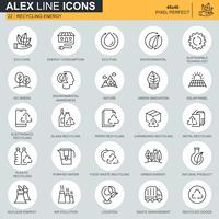 Thin-Line-Recycling, Umweltschutz, Eco-Care-Icons für Website-und Mobile-Site-Apps festgelegt. Enthält Symbole wie Eco, Innovation. 48x48 Pixel Perfekt. Bearbeitbarer Strich. Vektor-Illustration.