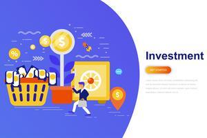 Investering och tillväxt ekonomi modernt platt koncept webb banner med dekorerade små människor karaktär. Målsida mall.