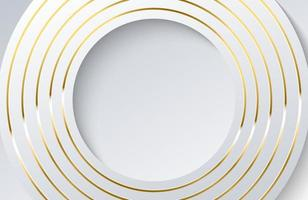 moderner weißer Hintergrund mit glänzendem Goldkreiselement. elegantes Kreisformdesign mit goldenem Linienvektor vektor