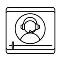 Online-Bildungscharakter mit Headset-Videoseminar-Lehrwebsite und Symbol für den Linienstil für mobile Schulungskurse vektor