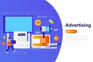Moderne flache Konzeptnetzfahne der Werbung und der Werbung mit verziertem kleinem Leutecharakter. Zielseitenvorlage