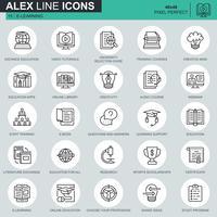 Thin Line Online-Bildung, E-Learning, E-Book-Icons für Website und mobile Website und Apps festgelegt. Enthält Symbole wie Buch, Bibliothek, Webinar. 48x48 Pixel Perfekt. Bearbeitbarer Strich. Vektor-Illustration. vektor