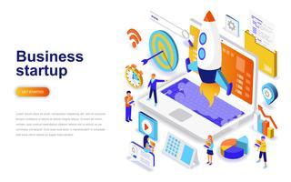 Business startup modernt plandesign isometrisk koncept. Starta arbetet och människokonceptet. Målsida mall.