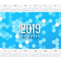 Modern 2019 färgstark kalendermall vektor
