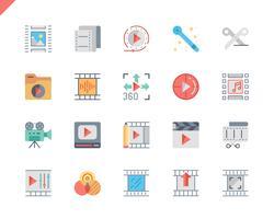 Enkla inställningar för videoredigering av platta ikoner för webbplats- och mobilapps. 48x48 Pixel Perfect. Vektor illustration.