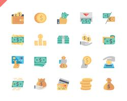 Simple Set Money Flat Ikoner för webbplats och mobilappar. 48x48 Pixel Perfect. Vektor illustration.