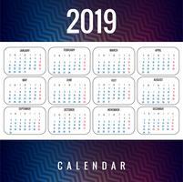 Abstrakt kalender färgrik 2019 mall design vektor