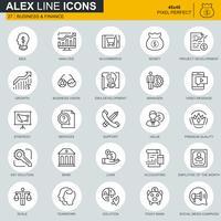 Tunna linjär företags- och finansikoner som är avsedda för webbplats och mobilwebbplats och -app. Innehåller sådana ikoner som analys, pengar, redovisning, strategi. 48x48 Pixel Perfect. Redigerbar stroke. Vektor illustration.