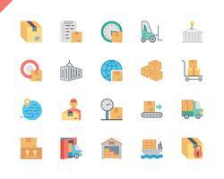 Einfache Set-Paket-Lieferungs-flache Ikonen für Website und bewegliche Apps. 48x48 Pixel Perfekt. Vektor-Illustration.