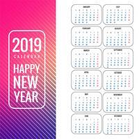 Kalender 2019 mall färgstark bakgrund vektor