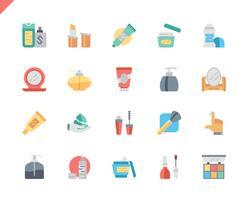 Enkla Set Cosmetics Flat Ikoner för webbplats och mobilappar. 48x48 Pixel Perfect. Vektor illustration.
