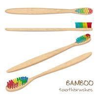 Bambusfarbene Zahnbürsten. Naturborste. Null Abfall, biologisch abbaubares Material. vektor