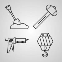 Sammlung von Konstruktionssymbolen im Umrissstil vektor