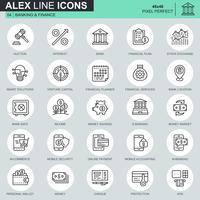 Dünne Linie Bankwesen und Finanzikonen stellten für Website und bewegliche Site und apps ein. Enthält Symbole wie Bank, Geld, Finanzplan, M-Commerce. 48x48 Pixel Perfekt. Bearbeitbarer Strich. Vektor-Illustration.