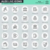 Tunna linjebank- och finansikoner som är avsedda för webbsidor och mobila webbplatser och appar. Innehåller sådana ikoner som bank, pengar, finansiell plan, M-handel. 48x48 Pixel Perfect. Redigerbar stroke. Vektor illustration.