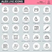 Tunnlinjehälso- och sjukvårdssymboler, sjukvårdssymboler som är avsedda för webbplats och mobila webbplatser och appar. Innehåller sådana ikoner som läkare, sjuksköterska. 48x48 Pixel Perfect. Redigerbar stroke. Vektor illustration.