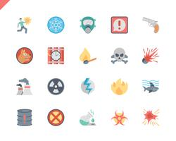 Einfache Set Warnungen flache Icons für Website und Mobile Apps. 48x48 Pixel Perfekt. Vektor-Illustration.