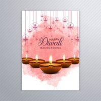 Dekorativer eleganter diwali Grußkarten-Broschürenschablonenvektor