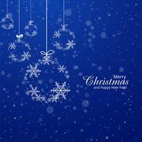 Julkort snöflingor boll dekorativa blå bakgrund