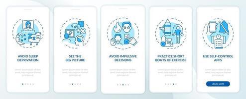 Tipps zur Steigerung der Selbstkontrolle Blauer Onboarding-Seitenbildschirm der mobilen App mit Konzepten vektor