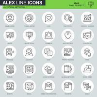 Tunna linjer sociala medier och nätverksikoner inställda för webbplats och mobil webbplats och appar. Innehåller sådana ikoner som Avatar, Bloggar, Vänskap. 48x48 Pixel Perfect. Redigerbar stroke. Vektor illustration.
