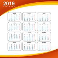 Kalender 2019 Vorlage mit Wellenhintergrund