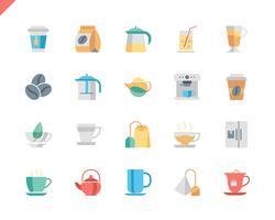Einfaches Set Kaffee und Tee flache Icons für Website und Mobile Apps. 48x48 Pixel Perfekt. Vektor-Illustration.