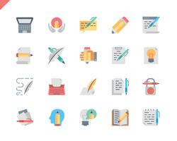 Einfacher Satz Copywriting Flat Icons für Website und Mobile Apps. 48x48 Pixel Perfekt. Vektor-Illustration.