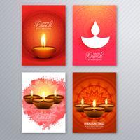 Affisch med en diya för diwali färgglada flygarmall samling