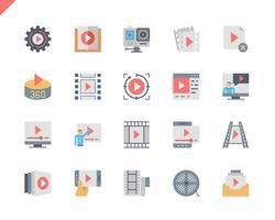 Einfacher Satz flache Ikonen des Video-Inhalts für Website und bewegliche Apps. 48x48 Pixel Perfekt. Vektor-Illustration.