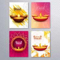 Härlig diwali hälsningskort mall broschyr uppsättning design