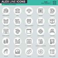 Tunna linjebank- och finansikoner som är avsedda för webbsidor och mobila webbplatser och appar. Innehåller sådana ikoner som e-bank, auktion, finansiell tillväxt. 48x48 Pixel Perfect. Redigerbar stroke. Vektor illustration.