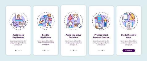 Tipps zur Steigerung der Selbstkontrolle beim Onboarding des Bildschirms der mobilen App-Seite mit Konzepten vektor