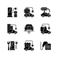 Elektrofahrzeug lädt schwarze Glyphensymbole auf weißem Raum vektor