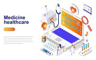 Medicin och sjukvård modern platt design isometrisk koncept. Apotek och människokoncept. Målsida mall.