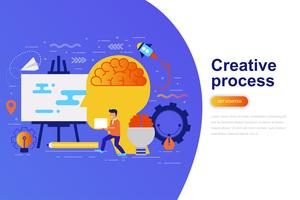 Moderne flache Konzeptnetzfahne des kreativen Prozesses mit verziertem kleinem Leutecharakter. Zielseitenvorlage