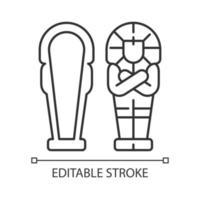 lineares Symbol des ägyptischen Sarkophags vektor