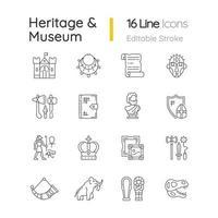 Erbe und Museum lineare Symbole gesetzt vektor