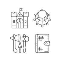 Antiquitäten Ausgrabung lineare Symbole gesetzt vektor