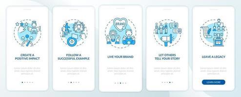persönliche Branding-Tipps blauer Onboarding-Seitenbildschirm für mobile Apps mit Konzepten vektor