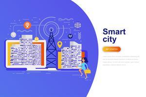 Flache Konzept-Netzfahne der intelligenten Stadt moderne mit verziertem kleinem Leutecharakter. Zielseitenvorlage