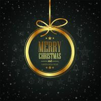 Karte der frohen Weihnachten mit glänzendem Ballhintergrundvektor vektor