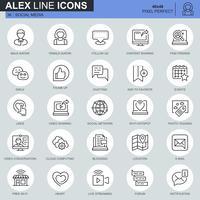 Tunna linjer sociala medier och nätverksikoner inställda för webbplats och mobil webbplats och appar. Innehåller sådana ikoner som Avatar, Emoji, Chating, Likes. 48x48 Pixel Perfect. Redigerbar stroke. Vektor illustration.
