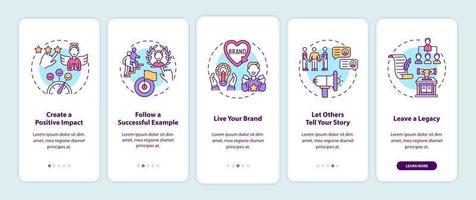 Persönliche Branding-Tipps Onboarding mobiler App-Seitenbildschirm mit Konzepten vektor