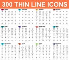 Enkel uppsättning vektor tunna linje ikoner. Innehåller sådana ikoner som Business, E-handel, Resor, Semester, Utbildning, Lärande, Medicin, Sjukvård, Ekologi. 48x48 Pixel Perfect. Linjärt piktogrampaket.