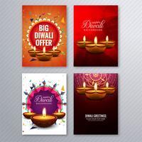 Glad diwali färgrik broschyr mall samling vektor
